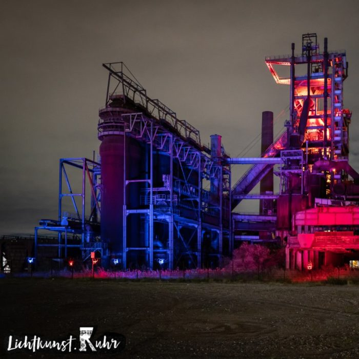 Lichtkunst Ruhr at Walas PHOENIX West Dortmund Germany blue red